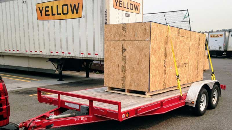 DF Goblin crate loaded on trailer at YRC freight terminal